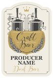 Beer label with wheat ears and brewery production. Template beer label with wheat ears, handwritten inscription and image of brewery production line and brewing Royalty Free Stock Images