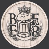 Beer label on wooden cask with full beer mug. Vector beer label template on wooden barrel with overflowing mug of frothy beer, crown and wheat or barley ears in Stock Images