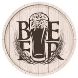 Beer label on wooden cask with full glass of beer. Template vector beer label with overflowing glass of frothy beer and wheat ears on wooden cask in retro style Royalty Free Stock Images