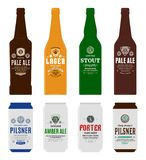 Vector beer labels, bottle and can mockups. Beer labels, bottle and can mockup templates. Pale ale, pilsner, lager, stout, porter and amber ale labels. Brewing vector illustration