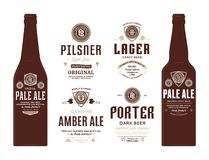 Vector beer labels and bottle mockups. Beer labels and bottle mockup templates. Pale ale, pilsner, porter, amber ale and lager labels. Brewing company branding vector illustration