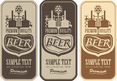 Beer labels with the brewery. Machine to make beer vector illustration