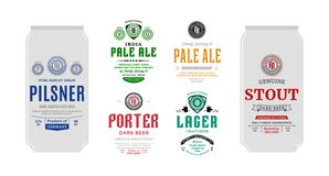 Vector beer labels and can mockups. Beer labels and can mockup templates. Pale ale, pilsner, lager, porter and stout labels. Brewing company branding and stock illustration