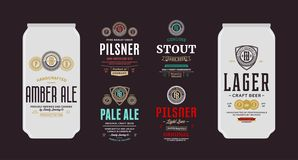 Vector beer labels and can mockups. Beer labels and can mockup templates. Pale ale, pilsner, lager, stout and amber ale labels. Brewing company branding and royalty free illustration