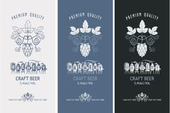 Beer labels set. Collection of beer labels in retro style royalty free illustration