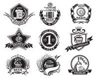 Beer labels set. Set of nine monochrome beer labels stock illustration