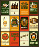 Beer labels set with shamrock. Beer labels design for St. Patrick's Day.Set contains labels design with different symbols and coat of arms. Vintage style vector illustration