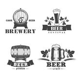 Beer labels set. Vector illustration set of beer signs, labels and badges, on a white background Stock Photos