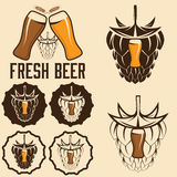 Beer labels with spikes and hop Stock Image