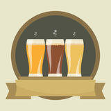 Beer labels. With three glasses of beer. Beverages Service icon. Simple flat vector Stock Photography