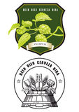 Beer labels. Two beer labels with hops and cask on a white background Stock Photos
