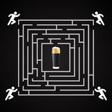 Beer labyrinth -  man run for a glass of dark beer Stock Photos