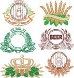 Beer laurel sheafs and sign collection. For all design Stock Image