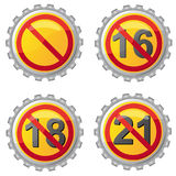 Beer lids with prohibition on age Stock Image