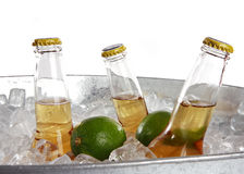 Beer and lime. Three beers on ice with two limes Stock Photography