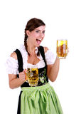 Beer liter. Happy and surprised woman while serving beer stock photography