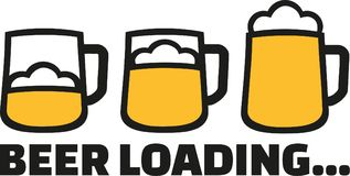 Beer Loading with three mugs and foam Royalty Free Stock Images