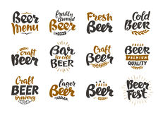Beer logo. Vector labels and icons. Collection elements for menu design restaurant Stock Photos