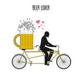 Beer lover. Beer mug on bicycle. Lovers of cycling tandem. Roman. Tic date. Romantic illustration alcohol Royalty Free Stock Photos