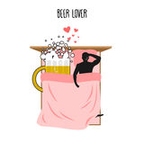 Beer lover. Beer mug and man. Lovers in bed top view. Smoking af Royalty Free Stock Photos