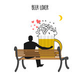 Beer lover. Beer mug and watch people on moon. Date night. Lover. S sit on bench. Month in  night dark sky. Romantic illustration alcohol Royalty Free Stock Images