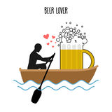 Beer lover. Man and beer mugs and ride in boat. Lovers of sailin Royalty Free Stock Images