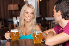 Beer lovers Stock Images
