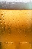 Beer Macro. Macro of beer in cold glass showing condensation Royalty Free Stock Photos