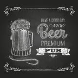 Beer in mag. Chalk drawing Stock Image