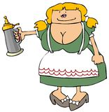 Beer Maiden. This illustration depicts a large-breasted German girl in traditional attire with a beer stein Stock Photography