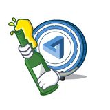 With beer MaidSafeCoin mascot cartoon style. Vector illustration Royalty Free Stock Photo