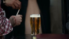 Beer. Man in a bar with a beer stock video footage