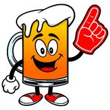 Beer Mascot with Foam Finger Royalty Free Stock Photos