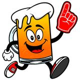Beer Mascot Running with Foam Finger Royalty Free Stock Photography