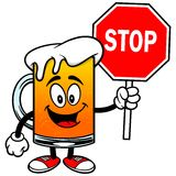 Beer Mascot with Stop Sign Stock Image