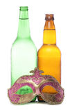 Beer and masquerade mask Royalty Free Stock Images