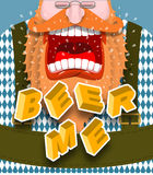 Beer me shout. Angry and aggressive man shouts. Red beard and mu Royalty Free Stock Photo