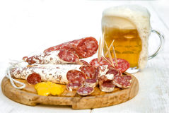 Beer and meat snack Stock Photography