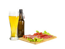 Beer and meat snack Royalty Free Stock Photos
