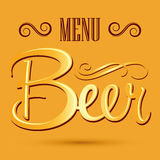 Beer menu banner - vector lettering Stock Photography