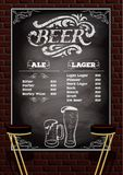 Beer menu on the brick wall background Royalty Free Stock Photos