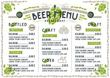Beer menu for cafe and restaurant Stock Photo