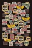 Beer menu design with retro beer labels. Vector illustration. Stock Photos