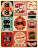 Beer menu design with retro beer labels. Vector illustration. Royalty Free Stock Photos