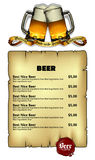 Beer menu Stock Photo