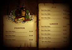 Beer menu Royalty Free Stock Photos