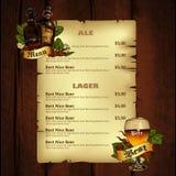 Beer menu Stock Photo