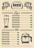 Beer menu design template.Vector pub, restaurant card with hand sketched lager,ale illustrations. Brewery elements icons Royalty Free Stock Image