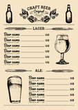 Beer menu design template.Vector pub, restaurant card with hand sketched lager,ale illustrations. Brewery elements icons Stock Photos