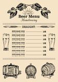 Beer menu design template.Vector pub, restaurant card with hand sketched lager,ale illustrations. Brewery elements icons Royalty Free Stock Images